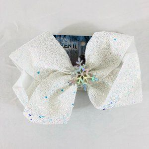 Frozen II Girls Hair Bow Glitter Sparkle White